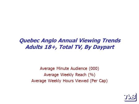 Quebec Anglo Annual Viewing Trends Adults 18+, Total TV, By Daypart Average Minute Audience (000) Average Weekly Reach (%) Average Weekly Hours Viewed.