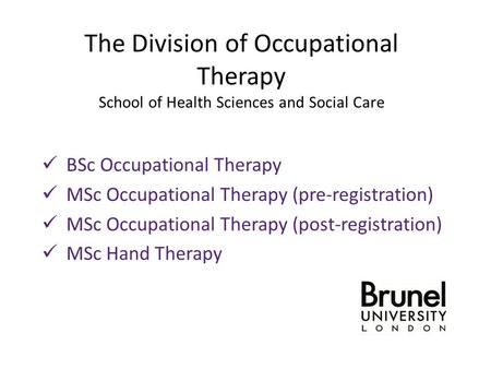 The Division of Occupational Therapy School of Health Sciences and Social Care BSc Occupational Therapy MSc Occupational Therapy (pre-registration) MSc.