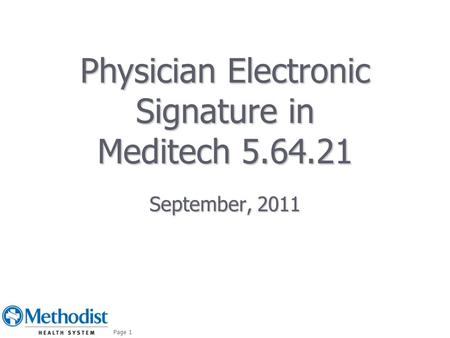 Physician Electronic Signature in Meditech