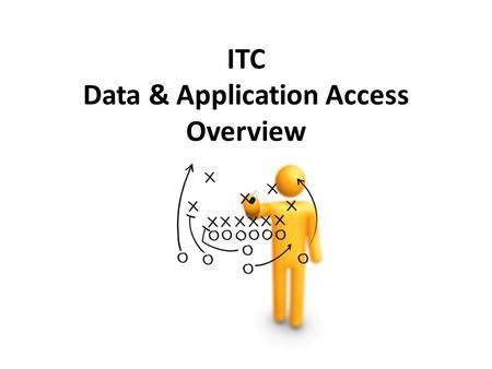 ITC Data & Application Access Overview. Data – Where is it? File Servers Email SharePoint Databases.