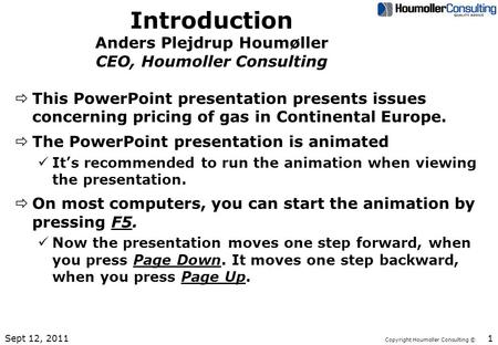 Copyright Houmoller Consulting © Introduction Anders Plejdrup Houmøller CEO, Houmoller Consulting ðThis PowerPoint presentation presents issues concerning.