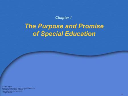 The Purpose and Promise of Special Education