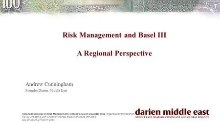 Regional Seminar on Risk Management, with a Focus on Liquidity Risk, organised by the Economic Policy Unit of the AMF and the Financial Stability Institute.