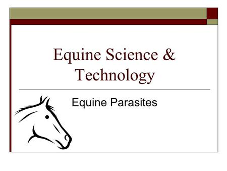 Equine Science & Technology Equine Parasites. Common Internal Parasites  In North America, horses are affected by more than 80 internal parasites, which.