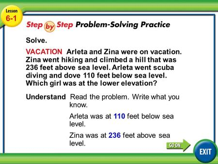 Lesson 6-1 Example 5 6-1 Solve. VACATION Arleta and Zina were on vacation. Zina went hiking and climbed a hill that was 236 feet above sea level. Arleta.