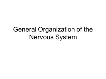 General Organization of the Nervous System. Parts Central Nervous System: Brain and spinal cord Peripheral Nervous System: peripheral nerves, autonomic.