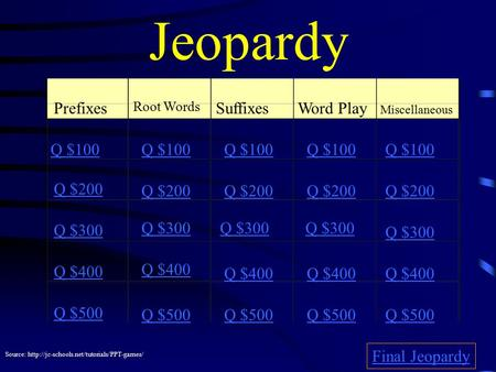 Jeopardy Prefixes Root Words SuffixesWord Play Miscellaneous Q $100 Q $200 Q $300 Q $400 Q $500 Q $100 Q $200 Q $300 Q $400 Q $500 Final Jeopardy Source: