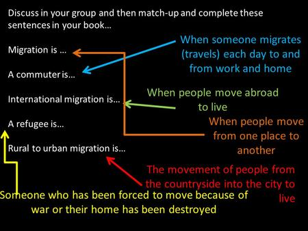 Discuss in your group and then match-up and complete these sentences in your book… Migration is … A commuter is… International migration is… A refugee.