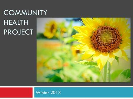 COMMUNITY HEALTH PROJECT Winter 2013. What is the Community Health Project?  Community – partnership between KU health graduate degree seeking students.