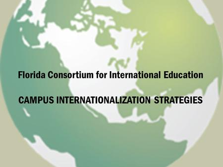 Florida Consortium for International Education CAMPUS INTERNATIONALIZATION STRATEGIES.