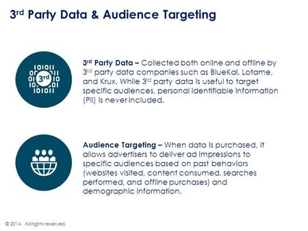 3 rd Party Data & Audience Targeting © 2014. All rights reserved. 3 rd Party Data – Collected both online and offline by 3 rd party data companies such.