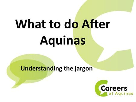 What to do After Aquinas Understanding the jargon.
