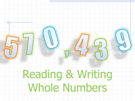Reading & Writing Whole Numbers. Vocabulary: 1. Whole Number – The counting numbers 0, 1, 2, 3, 4, 5, 6, 7, 8, and 9. Any number with a negative sign,