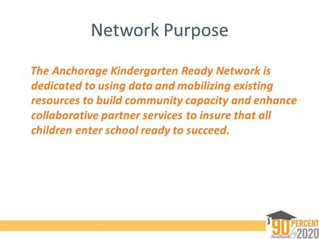 Network Purpose The Anchorage Kindergarten Ready Network is dedicated to using data and mobilizing existing resources to build community capacity and enhance.