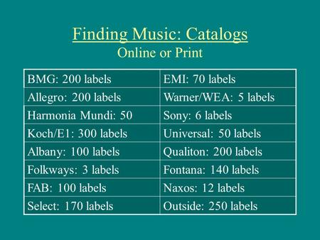 Finding Music: Catalogs Online or Print BMG: 200 labelsEMI: 70 labels Allegro: 200 labelsWarner/WEA: 5 labels Harmonia Mundi: 50Sony: 6 labels Koch/E1: