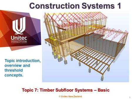 Topic 7: Timber Subfloor Systems – Basic
