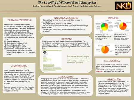 PROBLEM STATEMENT: Our research seeks to understand the current usability situation of files and email encryption software. Particularly we focus in Gnupg4win.