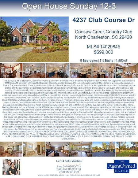 Open House Sunday 12-3 This 4,850 Sq. Ft. custom brick, golf course home is on one of the nicest lots in the entire neighborhood and loaded with upgrades!