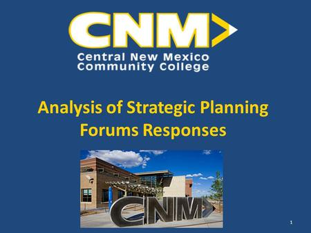 Analysis of Strategic Planning Forums Responses 1.