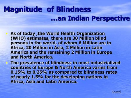 Magnitude of Blindness … an Indian Perspective Magnitude of Blindness … an Indian Perspective As of today,the World Health Organization (WHO) estimates,