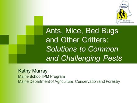 Ants, Mice, Bed Bugs and Other Critters: Solutions to Common and Challenging Pests Kathy Murray Maine School IPM Program Maine Department of Agriculture,