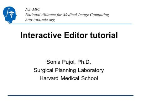 NA-MIC National Alliance for Medical Image Computing  Interactive Editor tutorial Sonia Pujol, Ph.D. Surgical Planning Laboratory Harvard.