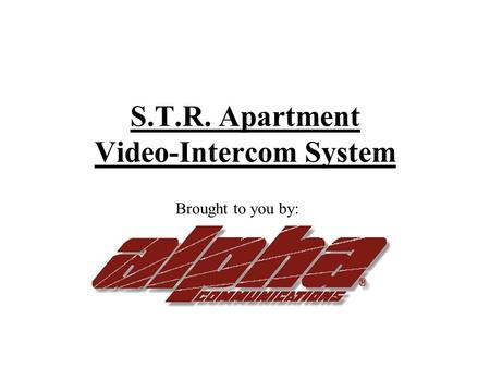 S.T.R. Apartment Video-Intercom System