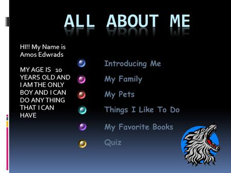 All About Me Introducing Me My Family My Pets Things I Like To Do
