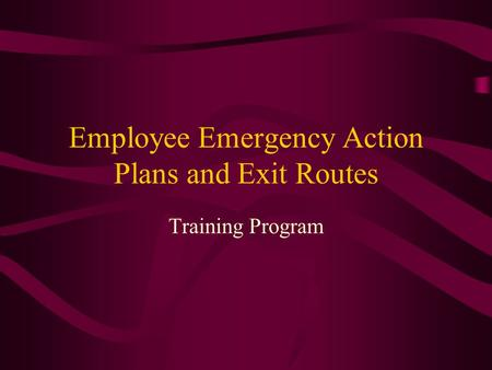 Employee Emergency Action Plans and Exit Routes Training Program.