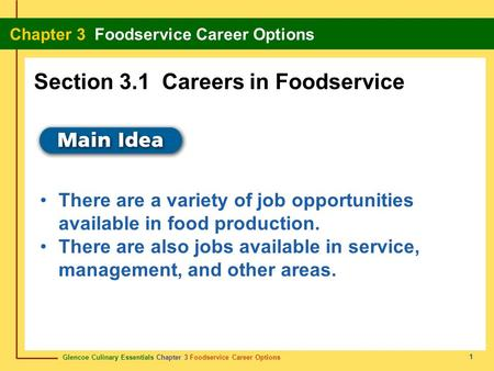 Glencoe Culinary Essentials Chapter 3 Foodservice Career Options Chapter 3 Foodservice Career Options 1 There are a variety of job opportunities available.