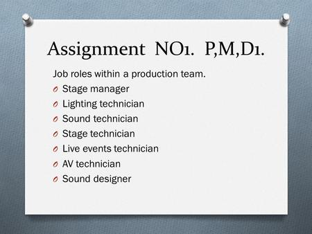 Assignment NO1. P,M,D1. Job roles within a production team.