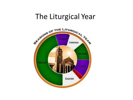 The Liturgical Year. The Liturgical Year begins the first Sunday of Advent Advent is a time when we prepare for Jesus' coming. It is 4 weeks long PURPLE.