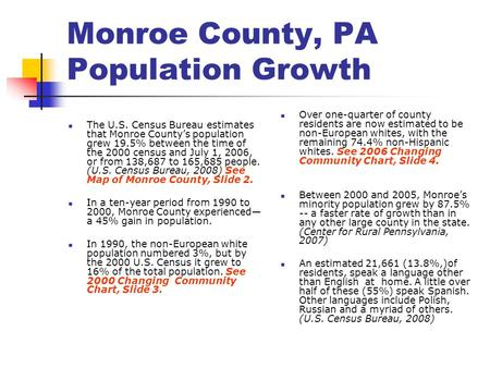 Monroe County, PA Population Growth The U.S. Census Bureau estimates that Monroe County's population grew 19.5% between the time of the 2000 census and.