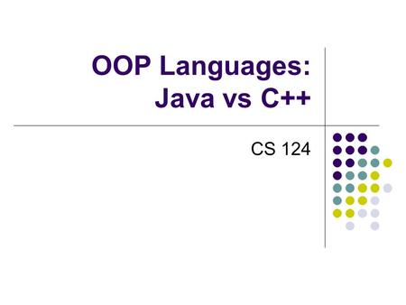 OOP Languages: Java vs C++