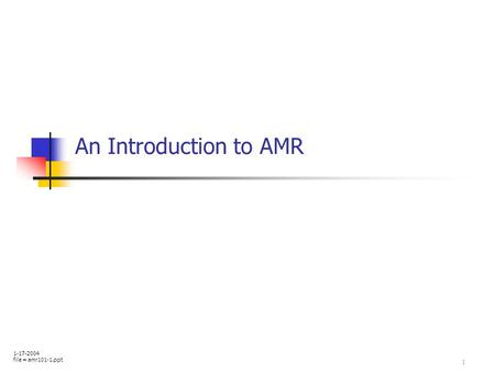 1 An Introduction to AMR 1-17-2004 file = amr101-1.ppt.