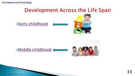  Early childhood  Middle childhood Dr. Mohsen Lotfy Ahmed Developmental Psychology 33.