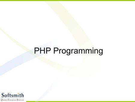 PHP Programming. Topics Background and History of PHP Installation Comments in PHP Variables Conditions Loops Functions File Handling Database Handling.