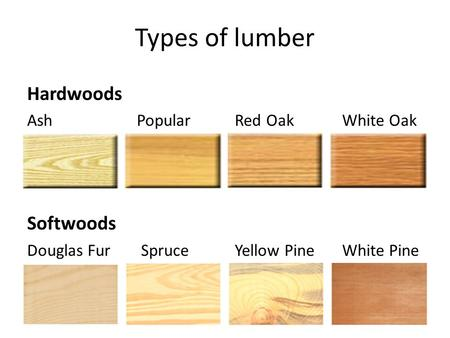 Types of lumber Hardwoods Softwoods Ash Popular Red Oak White Oak