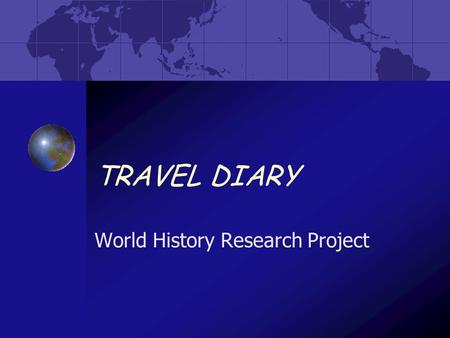 World History Research Project