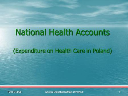 PARIS 2005Central Statistical Office of Poland1 National Health Accounts (Expenditure on Health Care in Poland)