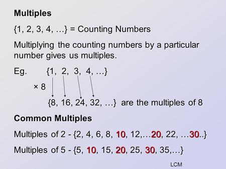 {8, 16, 24, 32, …} are the multiples of 8 Common Multiples