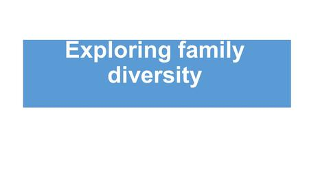 Exploring family diversity. Starter 1.Make a list of any laws that have encourage family diversity to exist in the UK 2.List as many examples of family.