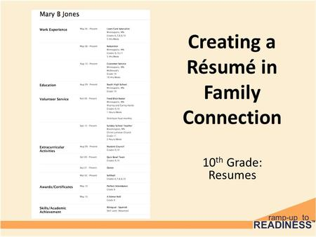 Creating a Résumé in Family Connection 10 th Grade: Resumes.
