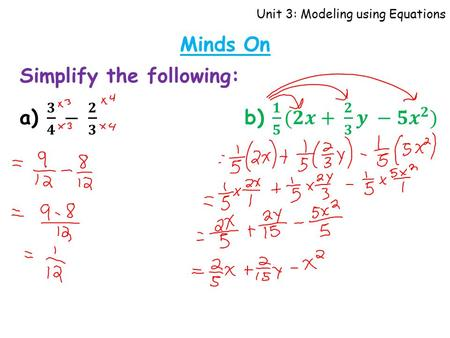Unit 3: Modeling using Equations Minds On. Unit 3: Modeling using Equations Solving Polynomial Equations (2) Learning Goal I can solve equations.