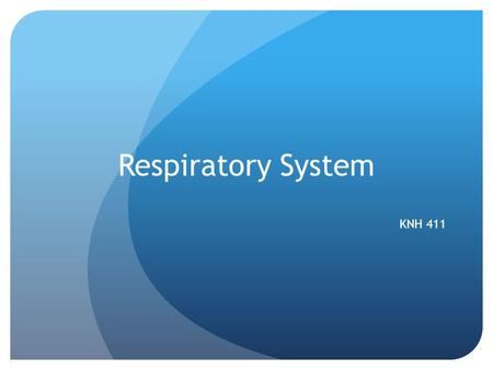 Respiratory System KNH 411