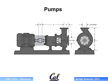 CBE 150A – Transport Spring Semester 2014 Pumps. CBE 150A – Transport Spring Semester 2014 Goals Describe how centrifugal and positive-displacement pumps.
