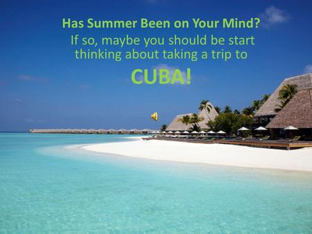 Has Summer Been on Your Mind? If so, maybe you should be start thinking about taking a trip to CUBA!