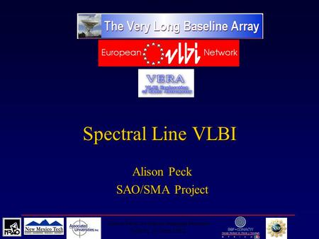 Alison Peck, Synthesis Imaging Summer School, 20 June 2002 Spectral Line VLBI Alison Peck SAO/SMA Project.