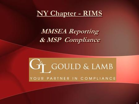 1 NY Chapter - RIMS MMSEA Reporting & MSP Compliance.