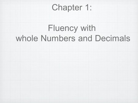 whole Numbers and Decimals